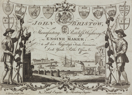 Trade card of John Bristow, engine maker, c 1754.