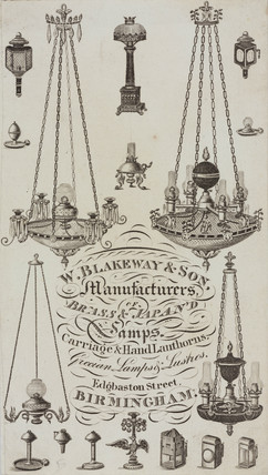 Trade card of W Blakeway & Son, lamp maker, c 1830.