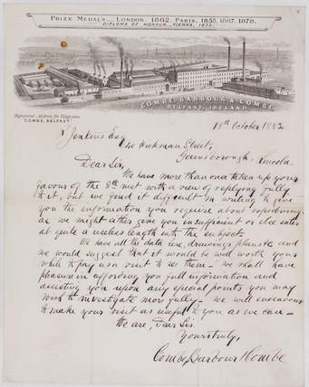 Letter from Combe, Barbour & Combe to R Jenkins, 18 October 1883.