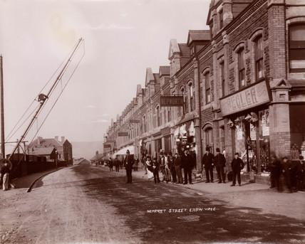 Market street, Ebbw Vale, Blaenau Gwent, Wales, 1880-1895.