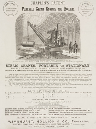 Handbill for Chaplin's patent portable steam engines and boilers, c 1875.