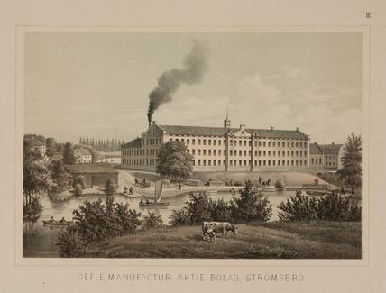 Cotton mill, Stromsbro, Sweden, c 1840.