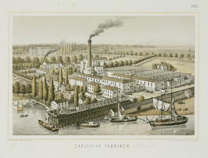 Textile factory, Carlsviks, Stockholm, Sweden, c 1840.