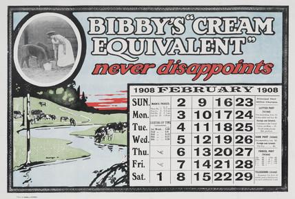 Bibby's 'Cream Equivalent', calendar, 1908.