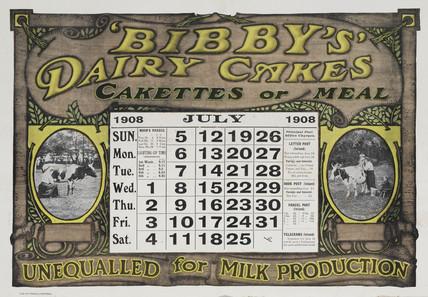 'Bibby's Dairy Cakes', calendar, 1908.