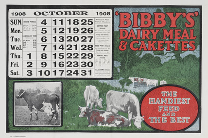 'Bibby's Dairy Meal and Cakettes', calendar, 1908.