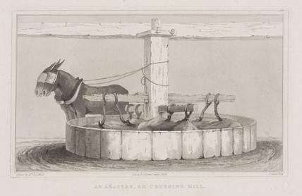 'An arastre, or crushing mill', 1828.