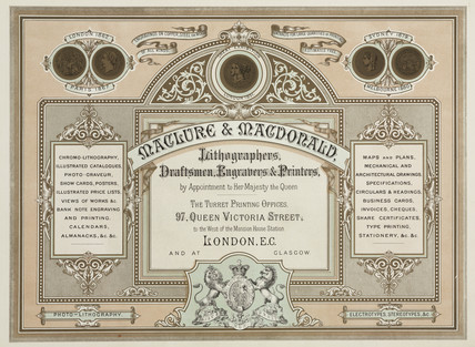 Trade advertisement for Maclure & Macdonald, lithographers, c 1880s.