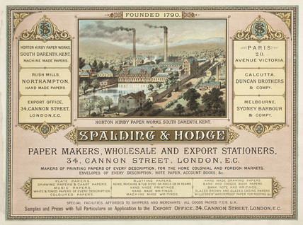 Trade advertisement for Spalding & Hodge paper makers, c 1887.