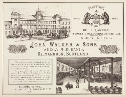 Trade advertisement for John Walker & Sons, whisky merchants, c 1887.