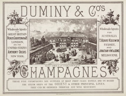 Trade advertisement for Duminy & Co Champagne, 19th century.
