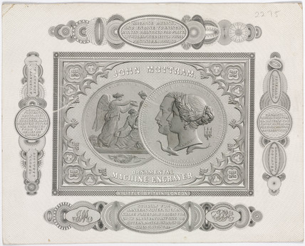 Trade card of John Mottram, engraver, c 1851.