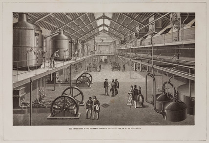 Interior view of a sugar refinery, France, late 19th century.