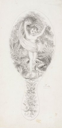 Design for a mirror back, 1870-1875.