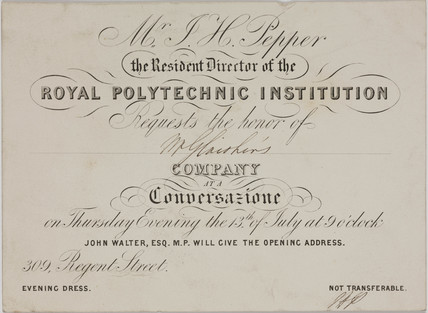 Invitation card from the Royal Polytechnic Institution to a Conversazione, c 1850s.