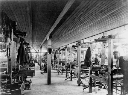 Chenille weaving in Darvel, East Ayrshire c 1920.
