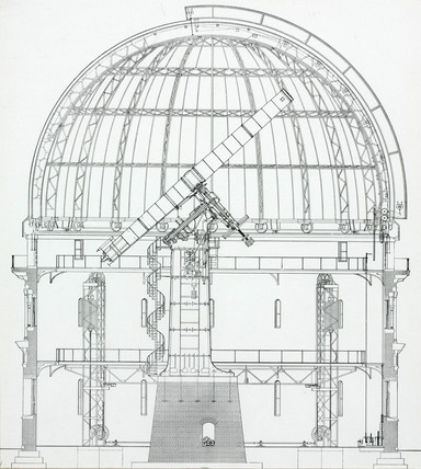 Cros-section of the 40 inch Yerkes Telescope, 1915.