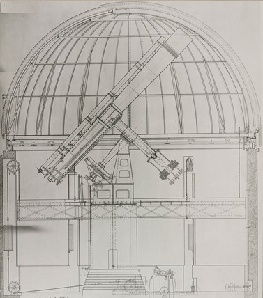 Drawing of an equatorial refracting telescope in its dome, 1928.