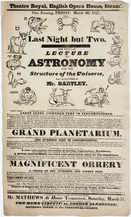 Lecture on astronomy by Mr Bartley, handbill, London, 1827.