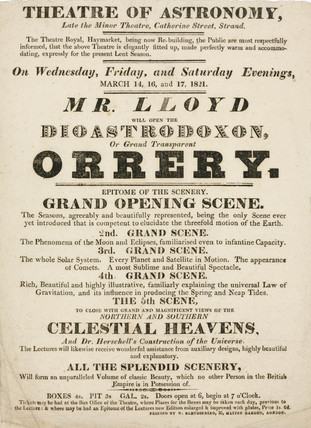 Handbill advertising Mr Lloyd's astronomical lectures,  March 1821.