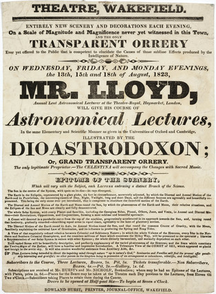 Handbill advertising Mr Lloyd's astronomical lectures, Wakefield, 1823.