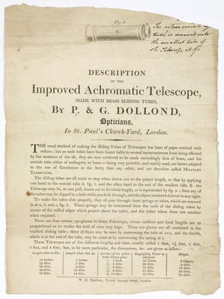 Description of the improved achromatic telescope, London, late 18th century.