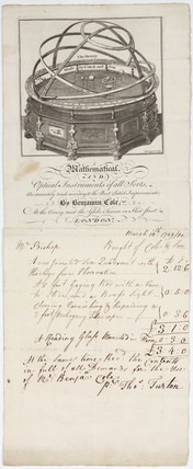 Letterhead and bill of Benjamin Cole and Son, 1766-1782.