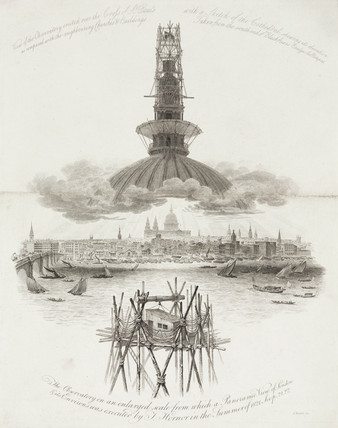 View of observatory erected on St Paul's Cathedral, London, c 1821.