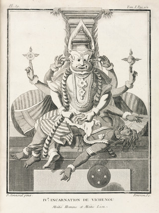 Fourth incarnation of Vishnu, half-man and half-lion, 1774-1781.