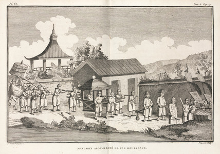 Mandarin and entourage, China, 1774-1781.