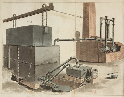 Perspective view of gaslight apparatus for lighting factories, 1816.