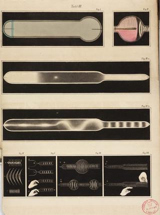 Glowing Geissler tubes, 1858.
