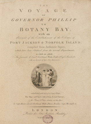 Title page from 'The voyage of Governor Phillip to Botany Bay', c 1789.