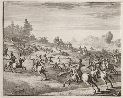 Deer hunt, c 1700.