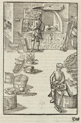 Purifying silver using fire, 1580.