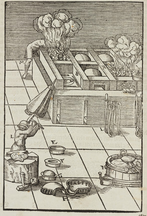 Burning silver under a muffle, 1580.