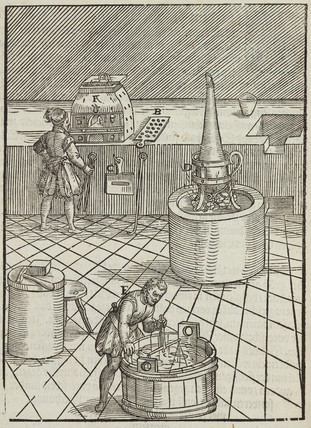 Gold testing for silver, 1580.