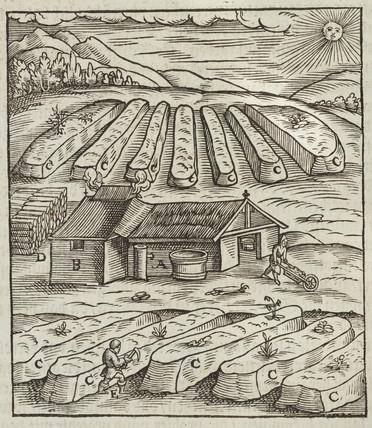 Saltpetre hut and immediate surroundings, 1580.