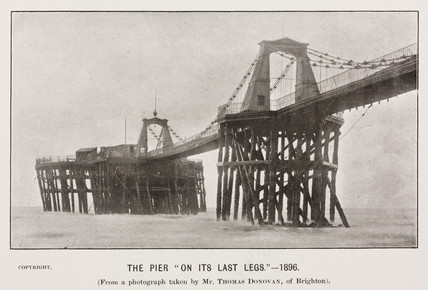 The Brighton Chain Pier 'on its last legs', 1896.