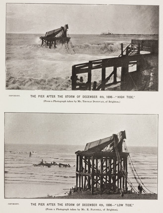 The Brighton Chain Pier after the storm of 4 December 1896.