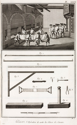 Glas-making: removing the sheet glas from the furnace, 1765.