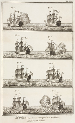 Ships signalling to each other by firing cannons, 1769.