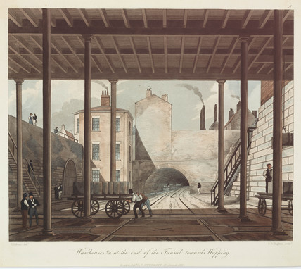 'Warehouses and Works at the End of the Tunnel towards Wapping', 1831.
