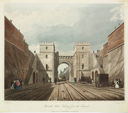 'Moorish Arch, looking from the Tunnel', Liverpool & Manchester Railway, 1831.