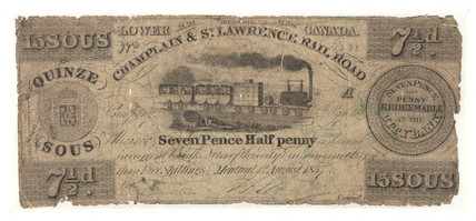 Paper Note isued by Champlain & St Lawrence Rail Road, c 1837.