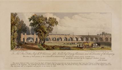 'View of Viaduct crosing Corbett's Lane', London & Greenwich Railway, c 1840.