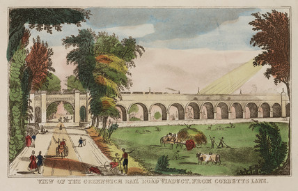 'View of the Greenwich Rail Road Viaduct from Corbett's Lane', c 1840.