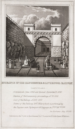 Moorish Arch at Edge Hill, Liverpool & Manchester Railway, c 1830.