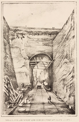'Mill Lane archway and excavation at Olive Mount', 1830s.