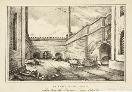 Entrance of the tunnels, Liverpool & Manchester Railway, c 1830s.